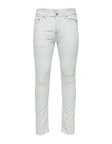 Only And Sons Distressed Skinny Jeans-GREY-31X32