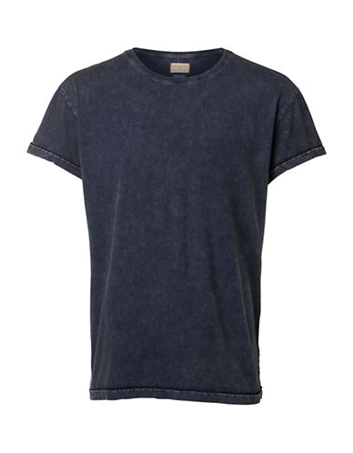 Selected Homme Short Sleeve Cotton Tee-BLUE-X-Large 89158149_BLUE_X-Large