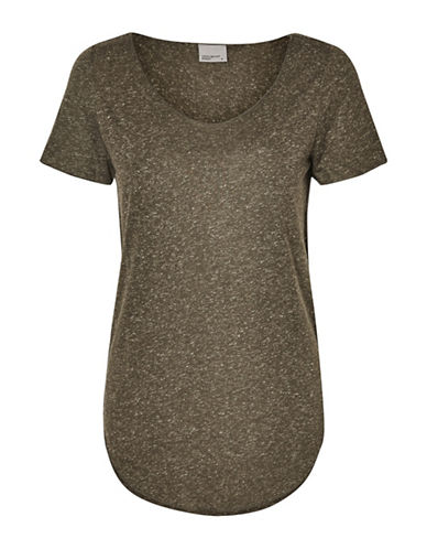 Vero Moda Scoop Neck Short Sleeve Top-BROWN-Medium