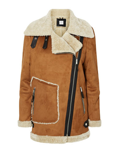 Vero Moda Taina Faux-Shearling Jacket-BROWN-Large 88742803_BROWN_Large