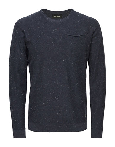 Only And Sons Crew Neck Pocket Trim Pullover-DARK NAVY-X-Large
