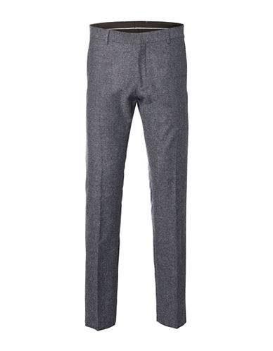 Selected Homme One- Mylo Iver Wool Blend Slim-Fit Trousers-GREY MELANGE-38