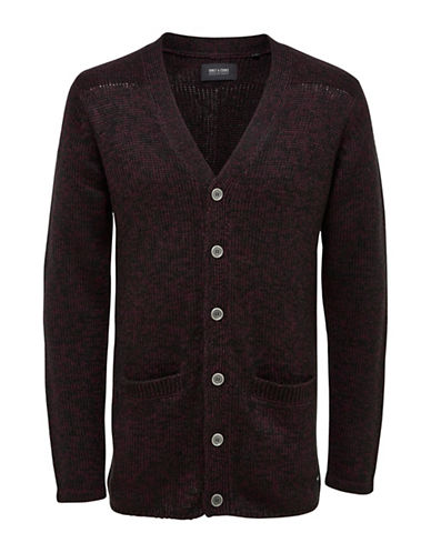 Only And Sons Knitted Long-Sleeve Cotton Cardigan-BLACK-Small