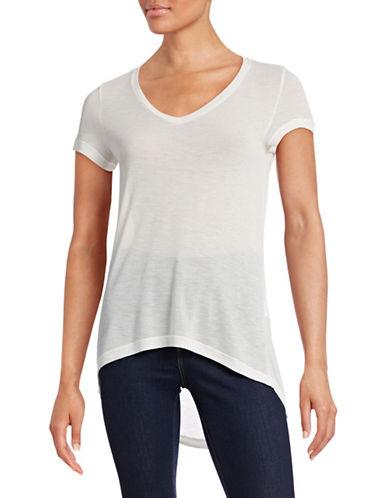 Vero Moda Semi-Sheer Hi-Lo V-Neck Top-WHITE-X-Small 88487794_WHITE_X-Small