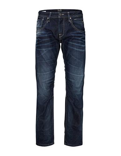 Jack & Jones Whiskered Cotton Jeans-BLUE-32X32
