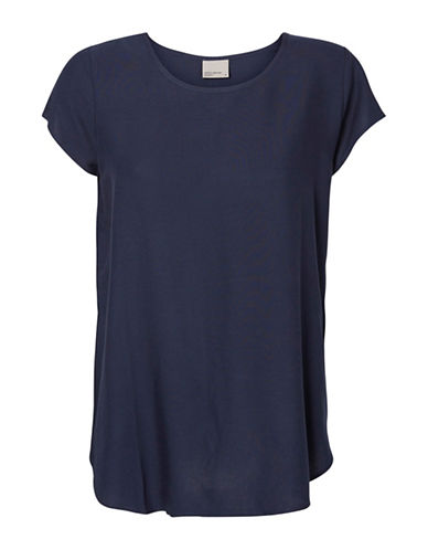 Vero Moda Round Neck Short Sleeve Blouse-BLUE-Medium