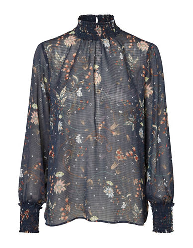 Vero Moda Ellen Floral Smocked Top-NAVY-Large