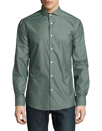 Tiger Of Sweden Slim Fit Dobby Dot Sport Shirt-GREEN-EU 42/US 16.5