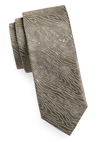 Tiger Of Sweden Wood Grain Silk Tie-NATURAL-One Size
