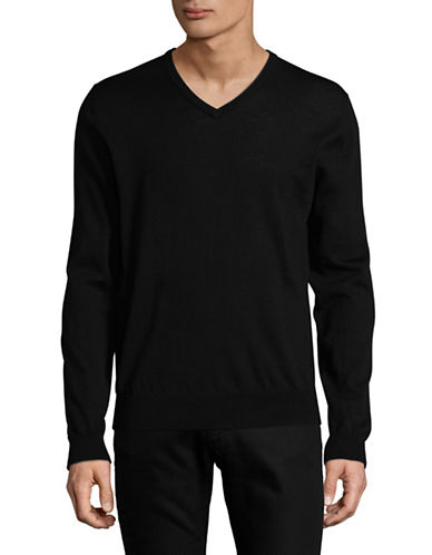 Tiger Of Sweden Rael Wool V-Neck Sweater-BLACK-X-Large