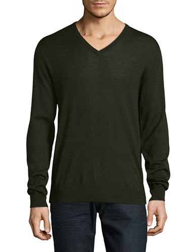 Tiger Of Sweden Rael Wool V-Neck Sweater-DARK GREEN-X-Large