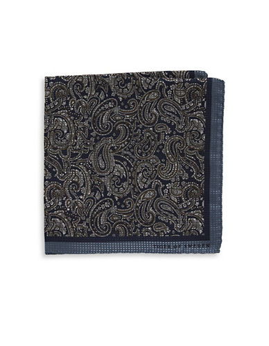 Tiger Of Sweden Paisley Silk Pocket Square-BLUE-One Size