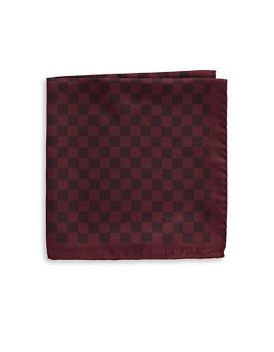 Tiger Of Sweden Checkerboard Silk Pocket Square-RED-One Size