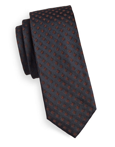 Tiger Of Sweden Contrast Dot Silk Tie-BROWN-One Size