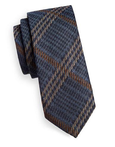 Tiger Of Sweden Plaid Stitch Silk-Wool Tie-BROWN-One Size