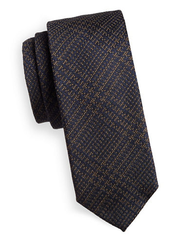 Tiger Of Sweden Speckled Plaid Silk-Wool Tie-NATURAL-One Size