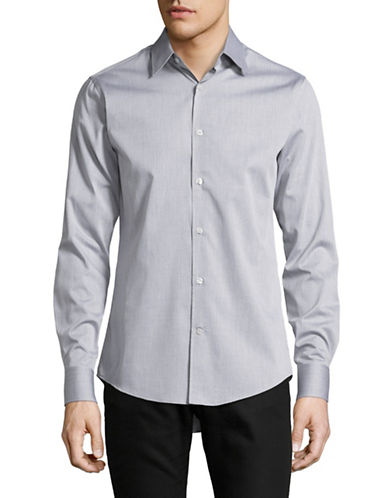 Tiger Of Sweden Herringbone Weave Shirt-CHARCOAL-EU 42/US 16.5
