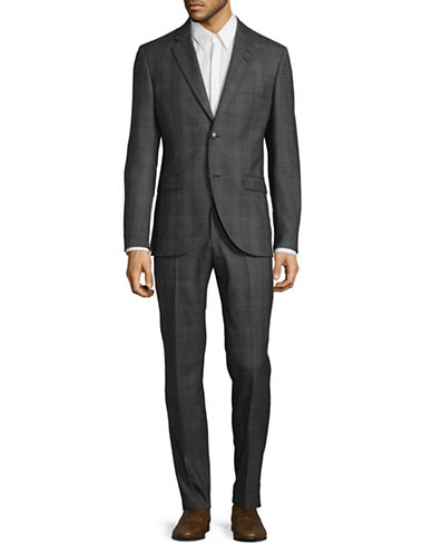 Tiger Of Sweden Glen Plaid Wool Suit-GREY-EU 50/US 40