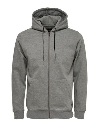 Only And Sons Heathered Zip Hoodie-GREY-X-Large