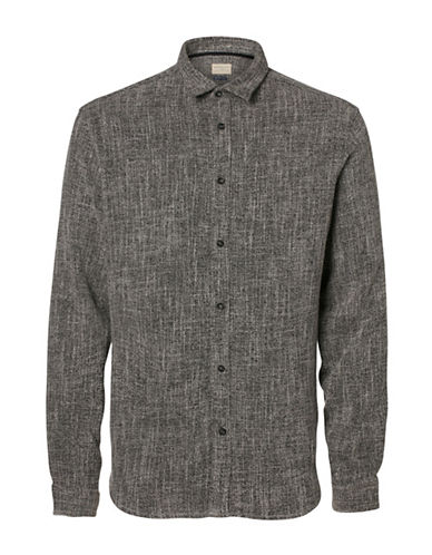 Selected Homme Slim-Fit Twill Weave Shirt-GREY-Small
