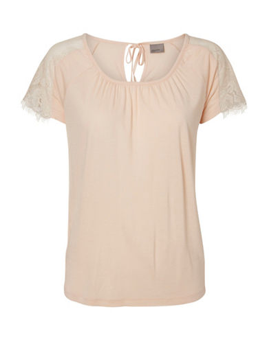 Vero Moda Sara Short Sleeve Lace-Trim Top-PINK-X-Small 88515719_PINK_X-Small