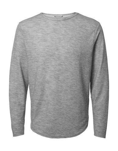 Selected Homme Heathered Crew Neck Tee-GREY-X-Large 89694366_GREY_X-Large
