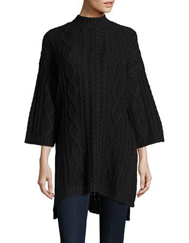 Vero Moda Bobos Mock Neck Cable Knit Sweater-BLACK-Medium 88679179_BLACK_Medium