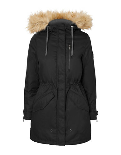 Vero Moda Faux Fur Hooded Parka-BLACK-Large 88679113_BLACK_Large