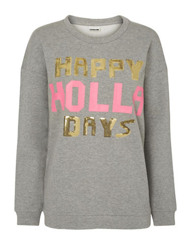 Noisy May Happy Holla Days Sweater-GREY-Small 88863406_GREY_Small