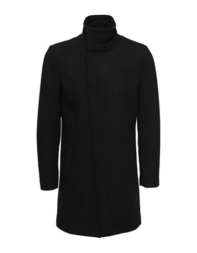 Only And Sons Asymmetrical Stand Collar Coat-BLACK-Small
