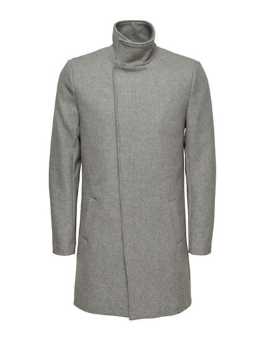Only And Sons Asymmetrical Stand Collar Coat-LIGHT GREY-Small