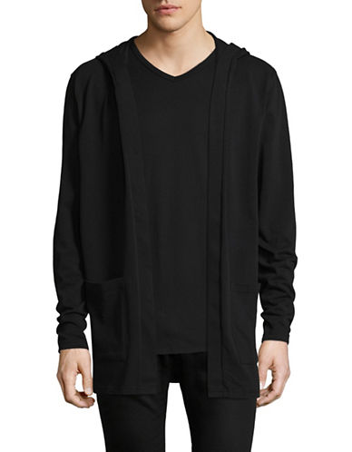 Only And Sons onSnoki Hooded Cardigan-BLACK-X-Large
