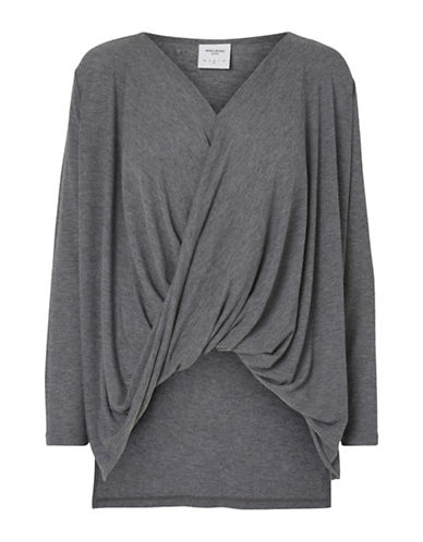 Vero Moda Honie Wrap Top-GREY-Medium 88679272_GREY_Medium