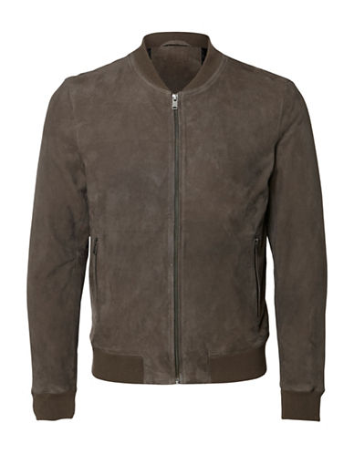 Selected Homme Shnmark Suede Bomber Jacket-GREY-XX-Large
