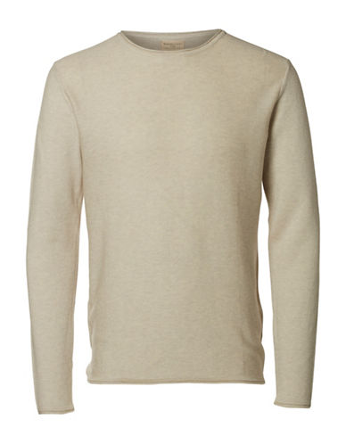 Selected Homme Textured Crew Neck Tee-BROWN-XX-Large