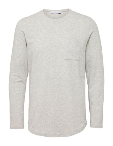 Selected Homme Shdflorian Long Sleeve T-Shirt-GREY-Small 88992141_GREY_Small