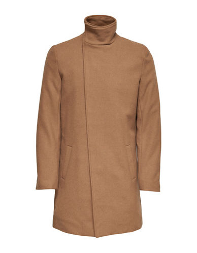 Only And Sons Asymmetrical Stand Collar Coat-BROWN-X-Large
