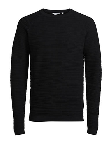 Jack & Jones Knit Cotton T-Shirt-BLACK-Small