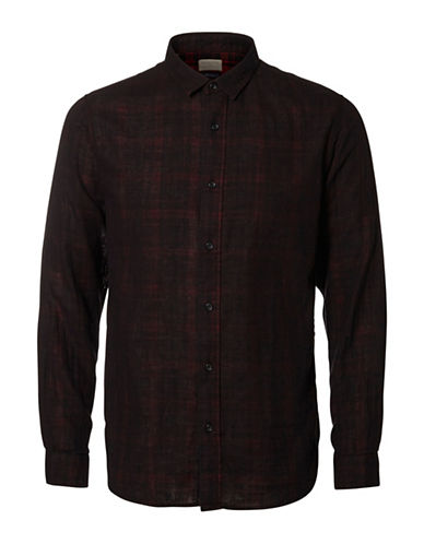 Selected Homme Maron Plaid Slim-Fit Shirt-BLACK-Small