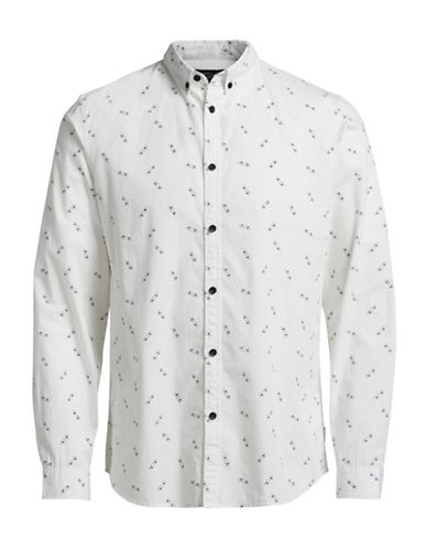 Jack & Jones Printed Button-Down Shirt-WHITE-X-Large