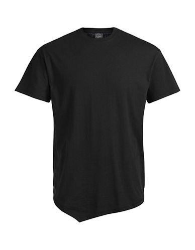 Jack & Jones Asymmetrical Cotton Tee-BLACK-X-Large 88768445_BLACK_X-Large