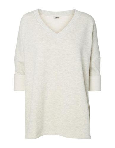 Noisy May Three-Quarter Sleeve Ribbed Sweater-WHITE-Small 89110224_WHITE_Small