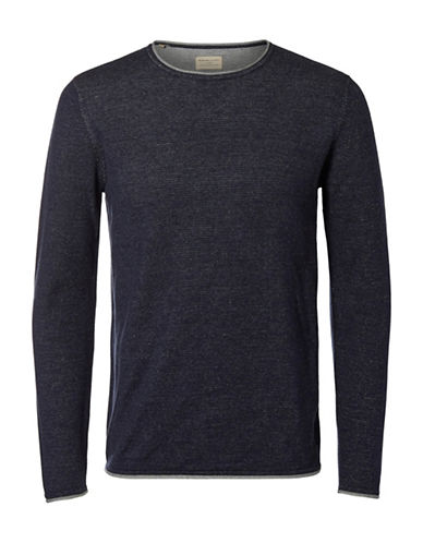 Selected Homme Cotton Sweater-BLUE-Medium