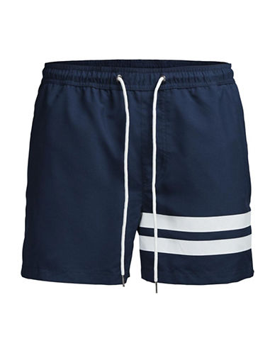 Jack & Jones Sunset Striped Swim Shorts-BLUE-X-Large 89119935_BLUE_X-Large