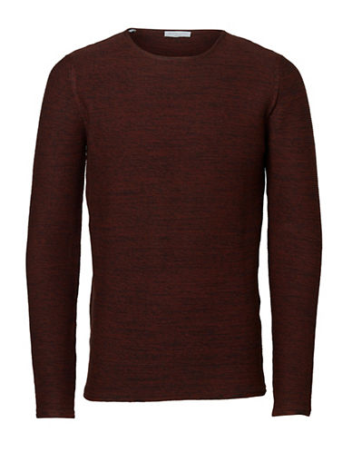 Selected Homme Joe Camp Striped Knitted Sweater-RED-Large 88781916_RED_Large
