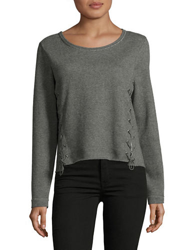 Only onlMARY Lace-Up Sweater-GREY-Small 88901017_GREY_Small