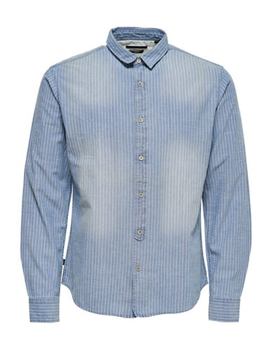 Only And Sons Caspian Striped Shirt-BLUE-Large