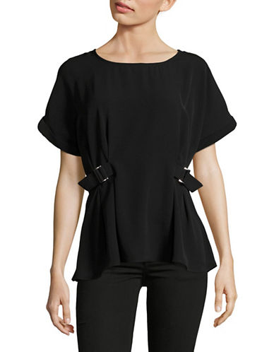 Ichi Cumano Buckle Blouse-BLACK-X-Small