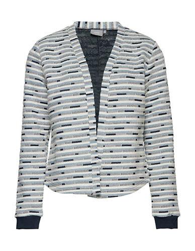 B. Young Sialy Jacquard Pattern Cardigan-BLUE-Medium