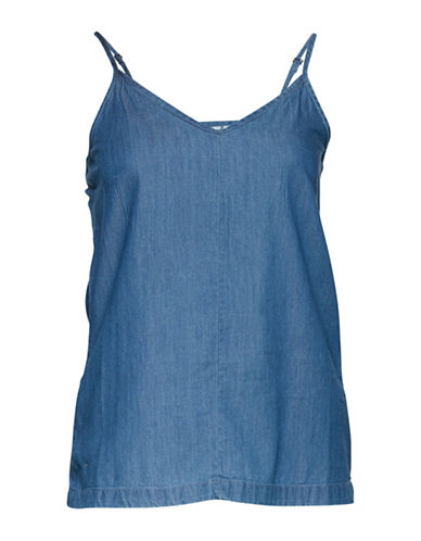 Ichi Tuxo Denim Camisole-BLUE-Large